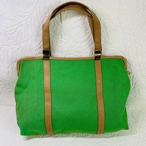 vintage green canvas tote purse